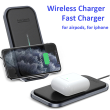 15W 2 in 1 Wireless Charger Fast Wireless Charging Pad For iPhone 11 Pro XS Max XR X Samsung S10 Charger Pad for AirPods Pro 2 1 15w fast charge 2 in 1 wireless charger for iphone 11 pro xs max xr x qi fast wireless charging pad for airpods pro 1 2 charger
