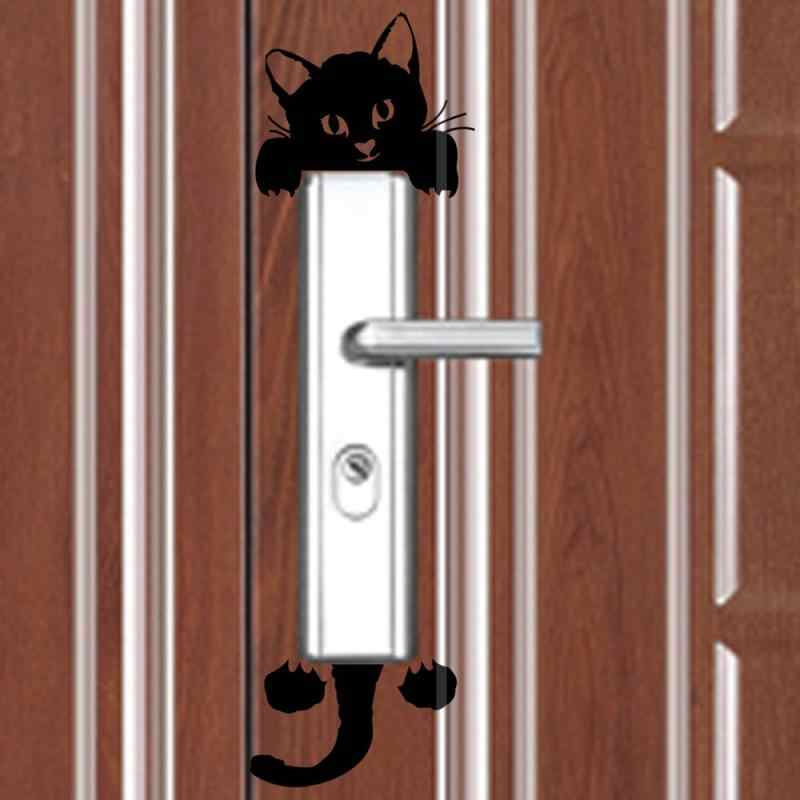 Calcomanía de interruptor de luz gato lindo negro pegatinas de pared para interruptor de luz arte Mural habitación de bebé etiqueta PVC papel tapiz para dormitorio