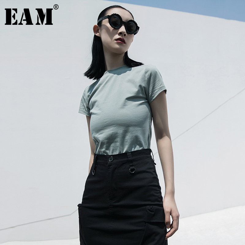[EAM] Women Multicolor Brief  Thin High Elasitc T-shirt New Round Neck Short Sleeve  Fashion Tide  Spring Summer 2020 1W044