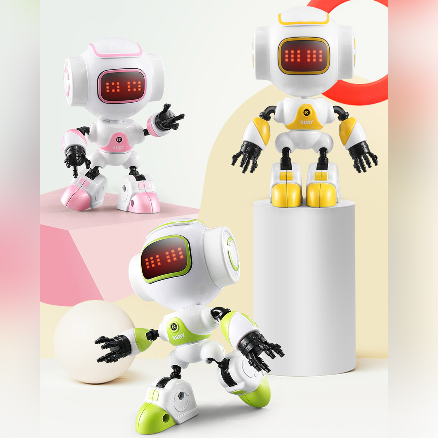 Mini Cute Robot Touch Sensing Model Toy With LED Eyes Smart Voice DIY Gesture Alloy Body For Kids Children Gifts
