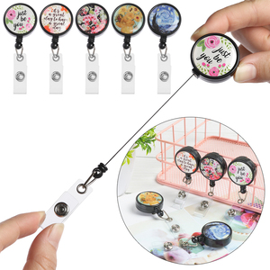 2020High Quality New Design Retractable Nurse Badge Fashion Reel Clip Flower Pineapple Cactus Pattern IC ID Card Badge Holder