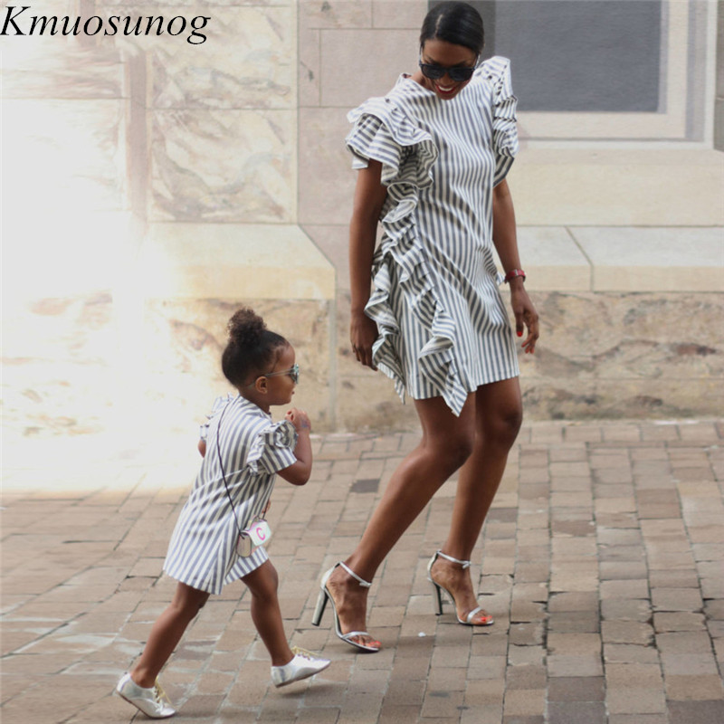 2019 Autumn Mom And Daughter Matching Dress Ruffles Striped Mini Dress Mother Daughter Dress Family Matching Clothes C0583