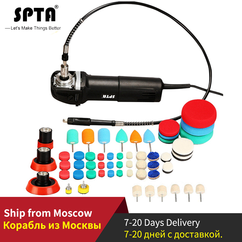 Spta ミニ車研磨機ロータリーポリッシャー ro ポリッシャー自動ディテールスーパー 58 個研磨パッドとミックスサイズキット