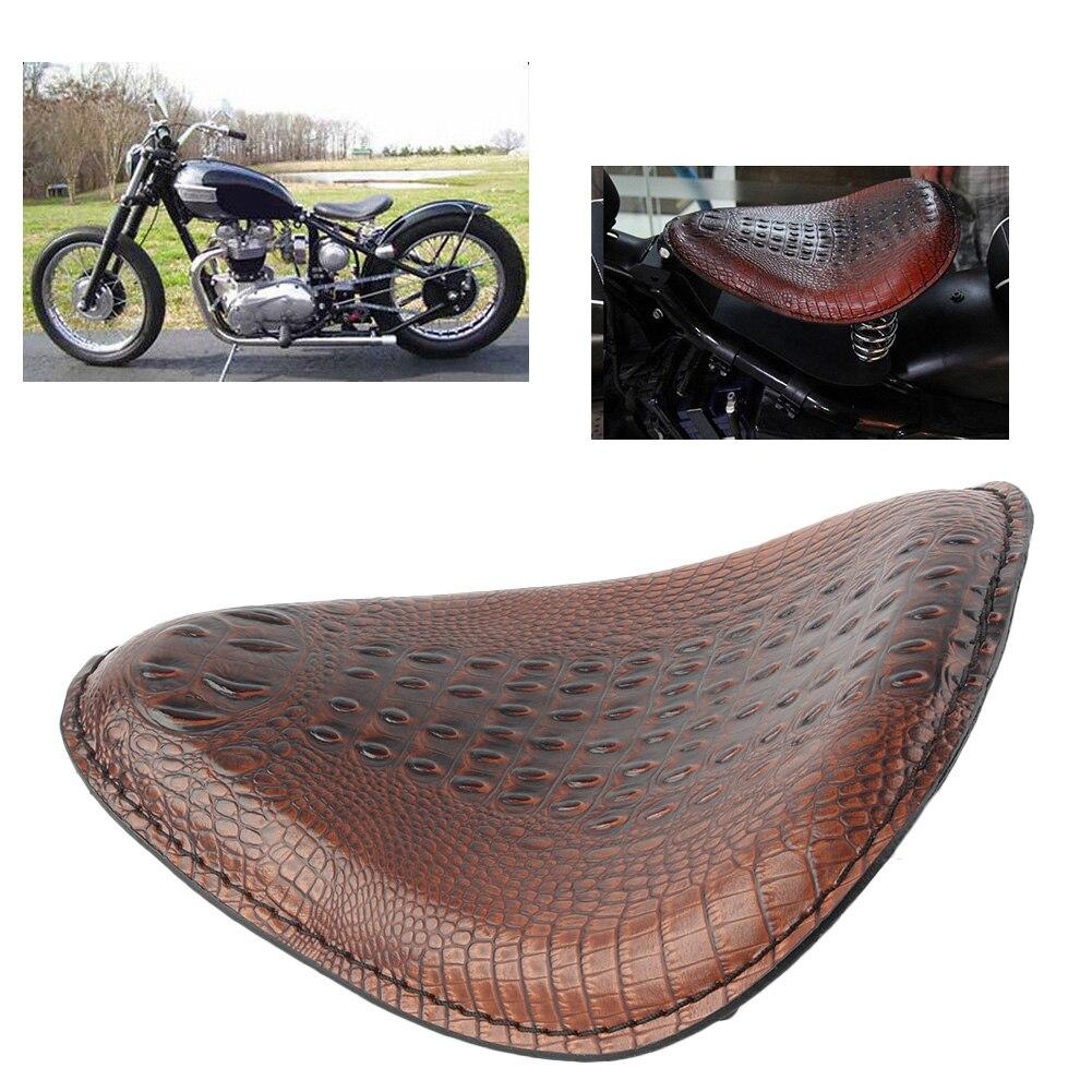 Coussin de siège Solo pour conducteur avant pour Harley Honda Yamaha Kawasaki Suzuki Sportster Bobber Chopper moto cuir synthétique polyuréthane marron