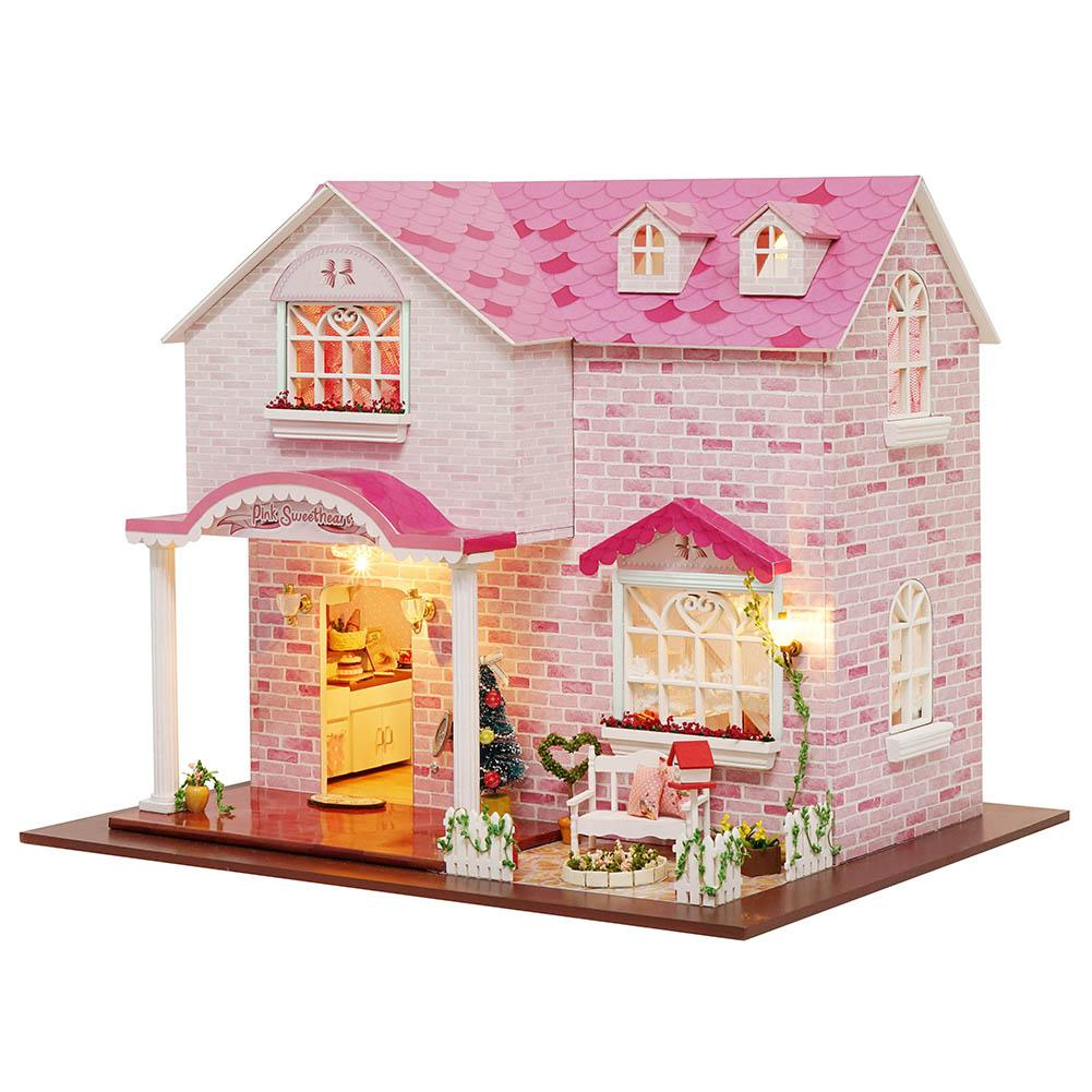 DIY Dollhouse Three-dimensional Assembly Attic Miniature Pink House with Music Movement for Holiday Birthday Gifts