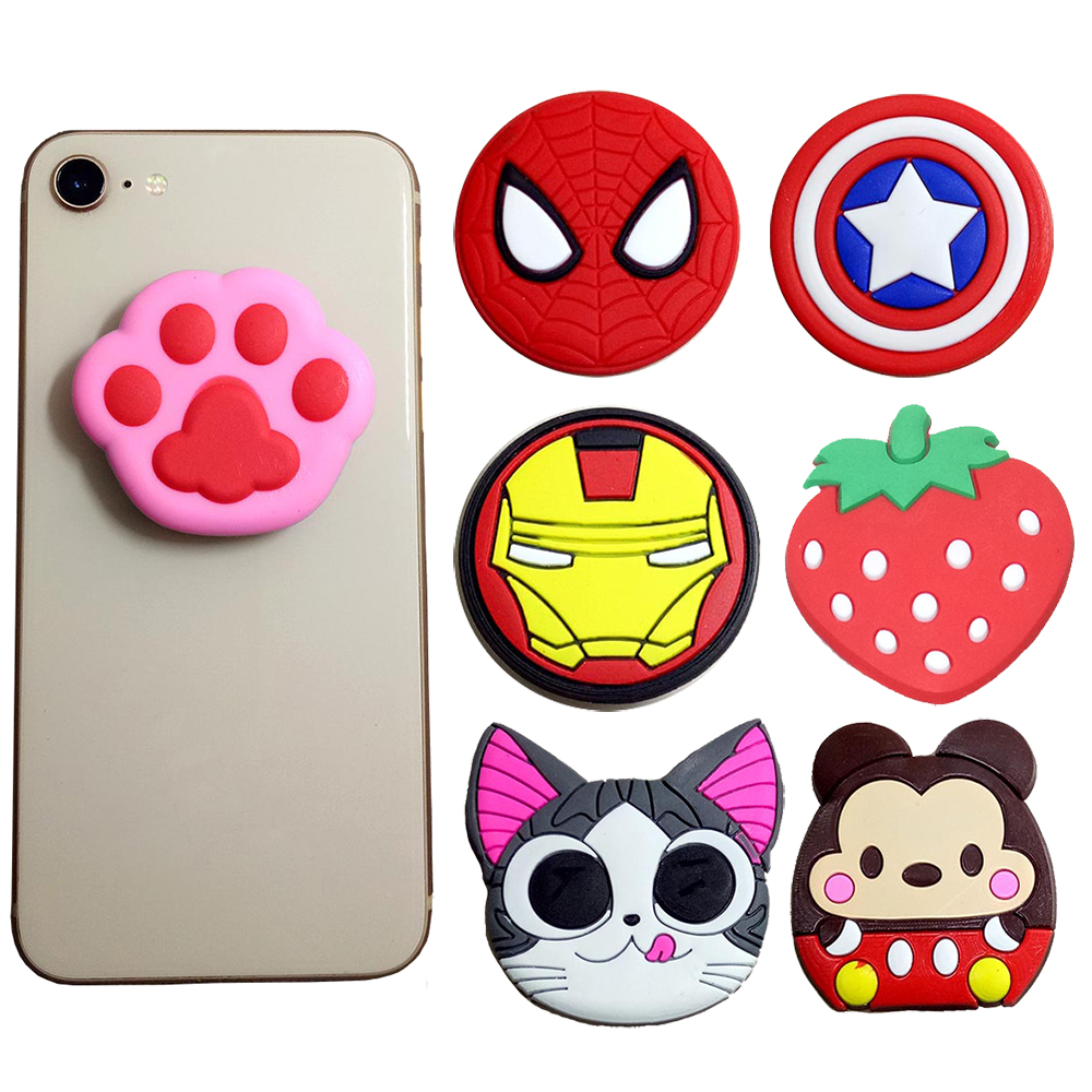 100 pieces Cartoon Universal Mobile Phone Ring Holder Airbag Gasbag fold Stand Bracket For iPhone Samsung Huawei Xiaomi