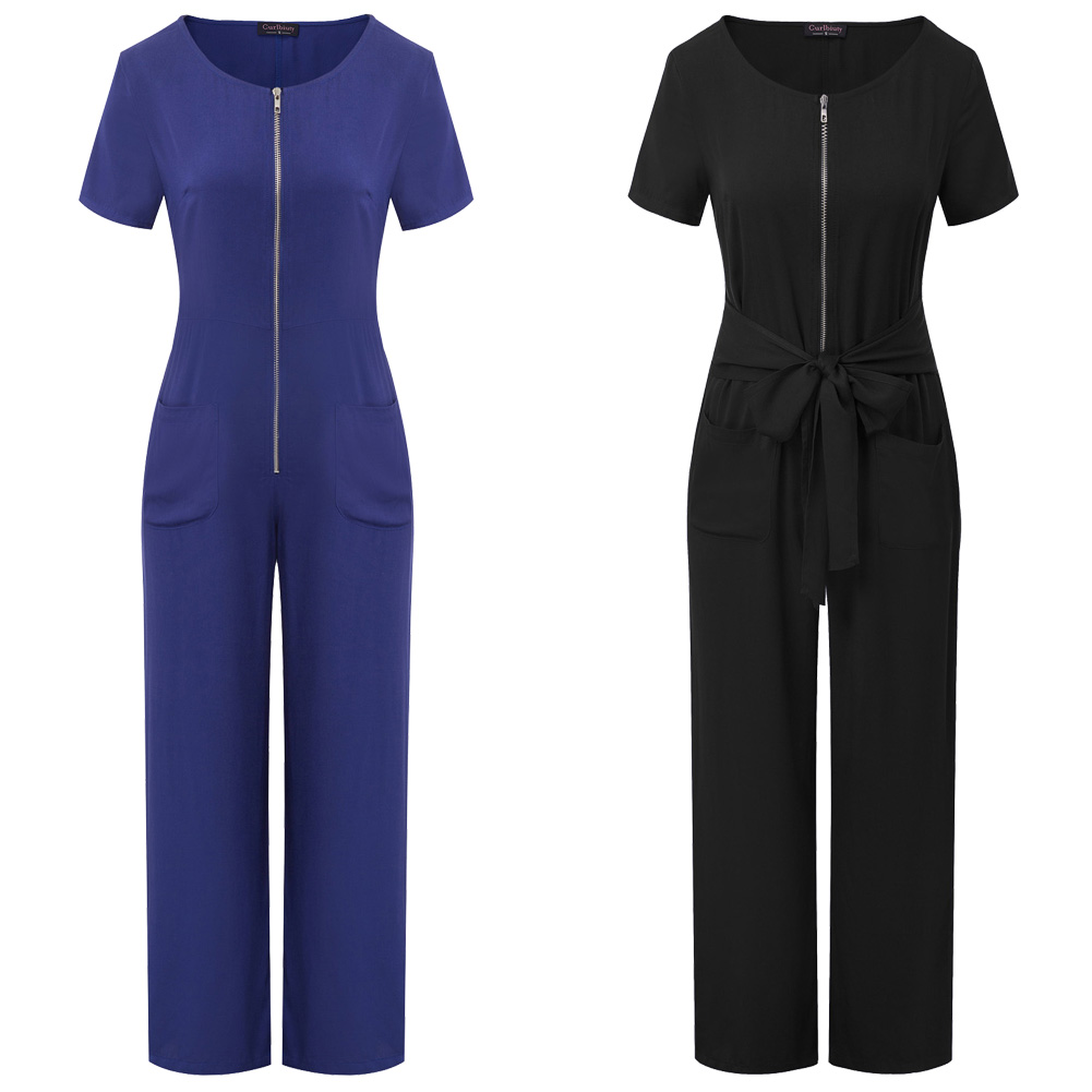 Curlbiuty Fashion Women Zip-Up Jumpsuit Short Sleeve Crew Neck Bet Decorated Comfy Rayon Lady Elegant Solid Color Playsuits