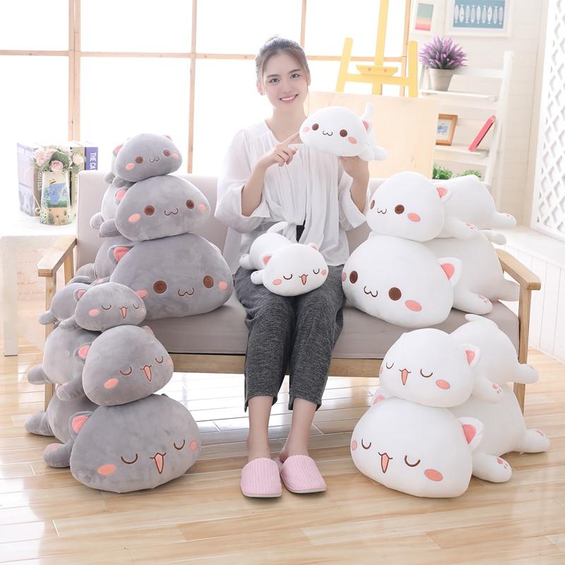 35-65 Kawaii Lying Cat Plush Toys Stuffed Cute Cat Doll Lovely Animal Pillow Soft Cartoon Toys for Children Girls Christmas Gift