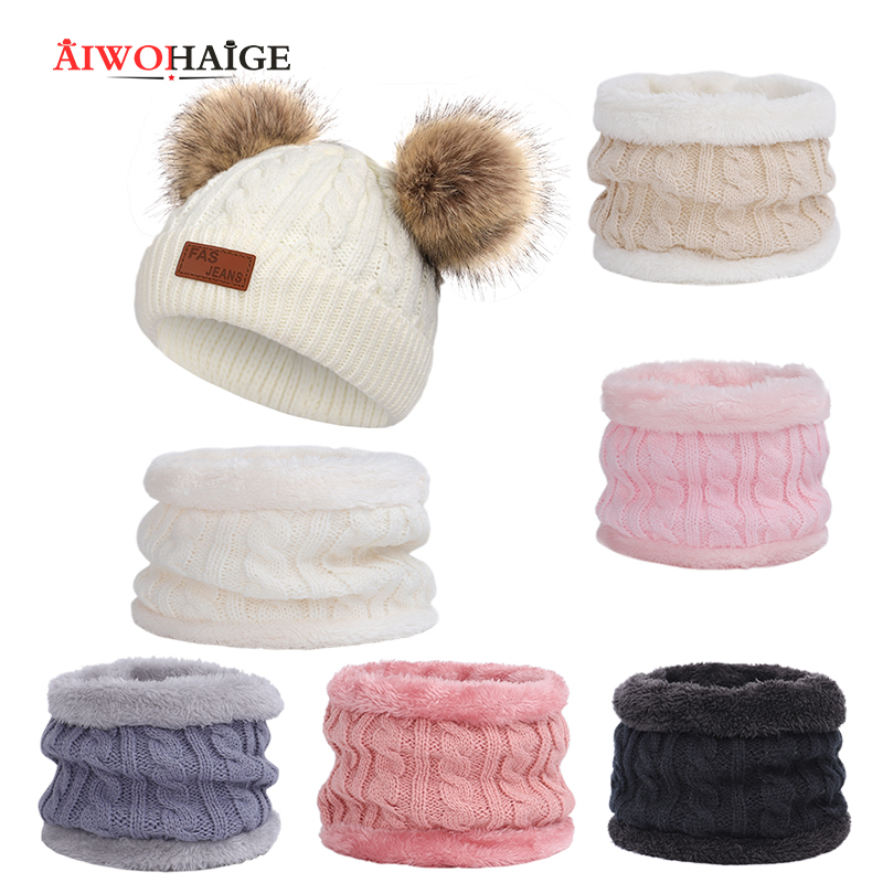 2019 NEW Knitted Cute Cap For Girls Boys Casual Solid Color Girls Hat Baby Cap Baby Hat Pompon Winter Scarf Children Hat