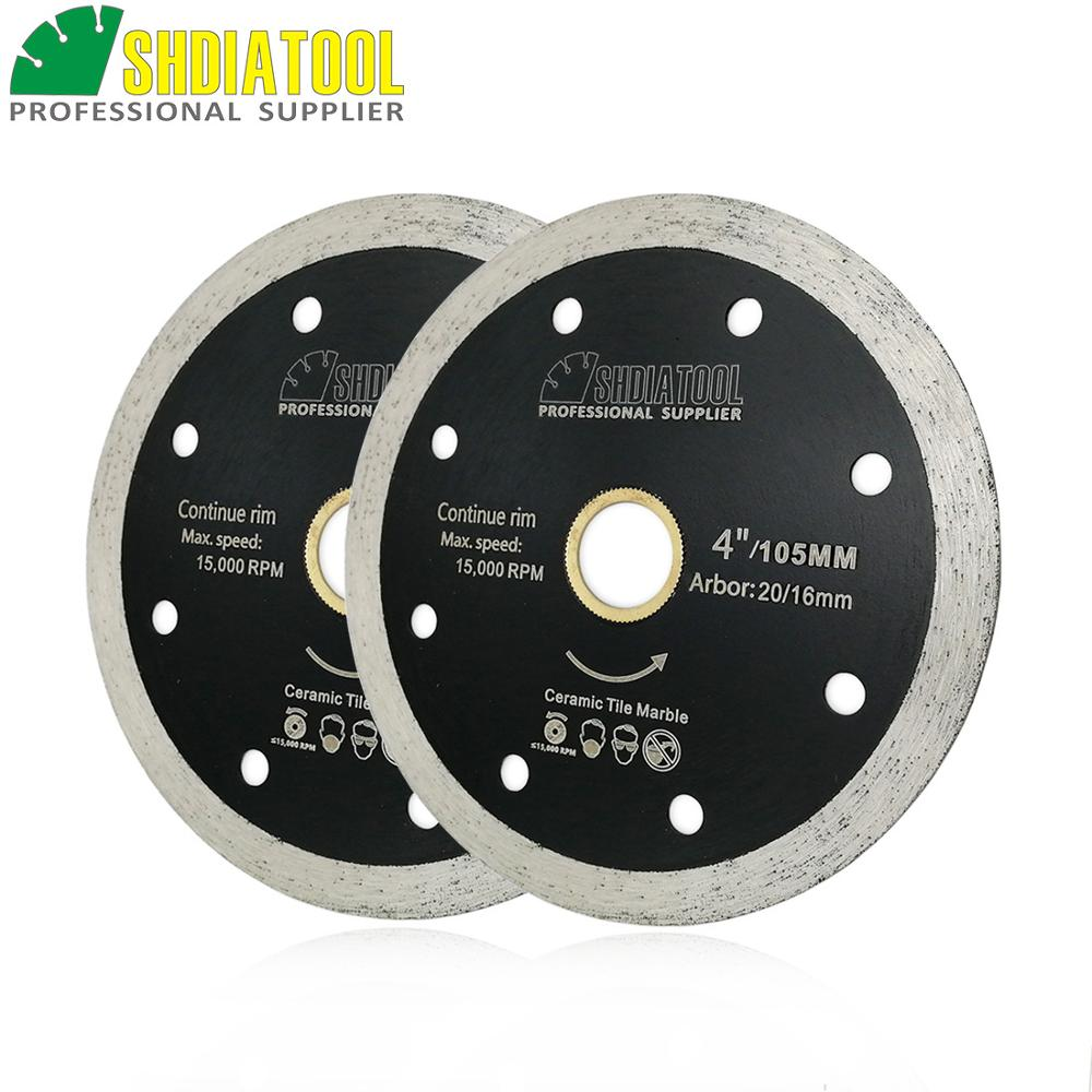 SHDIATOOL 2pcs Dia 4 Or 4.5 Inch Hot Pressed Thin Continue Rim Diamond Blade Cutting Disc Wet Cutting Ceramic Tile Saw Blades