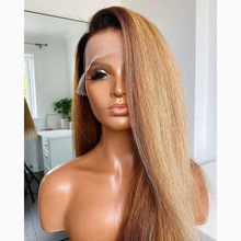 Remy ombre 1b27 yaki reta longa 13 × 6 peruca dianteira do laço cabelo humano u parte peruca para as mulheres preplucked relação média alça ajustável