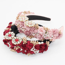 Baroque fashion temperament sponge rhinestone fabric flower wild headband street shooting personality prom hair accessories 756