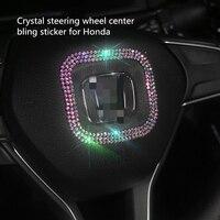 עבור הונדה crv crv קריסטל רכב מדבקות מדבקות היגוי פנים מרכז הגלגל בלינג אביזרים & יהלומים DIY להגדיר עבור j הסכם CRV הונדה סיוויק (1)