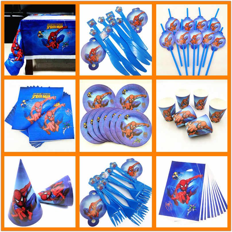 Super-herói spiderman festa de aniversário suprimentos decorações crianças meninos utensílios de mesa copos pratos banner favores presentes do bebê conjuntos
