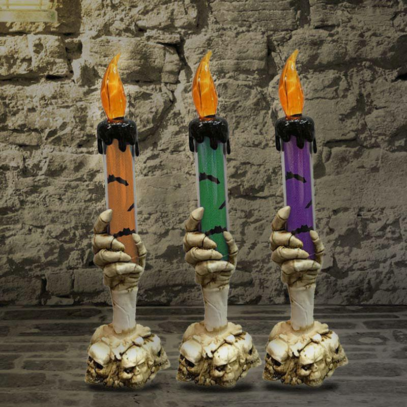 Skull Candlestick Skeleton Candle LED Candle Light Creative Horrible 3-Heads Plastic Haunted House 2019 Halloween Wall