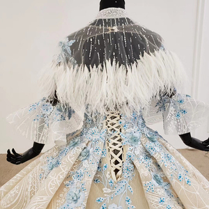 Image 5 - HTL1112 Special Colorful Luxury wedding dress 2020 Cape Feather Half Sleeve Appliques Bridal Dress Gown
