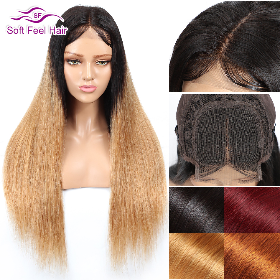 Soft Feel Hair 4x4 Ombre Brazilian Straight Lace Closure Wig Black Blonde Remy Burgundy Lace Front