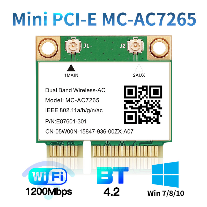 1200Mbps Wireless MC-AC7265 Half Mini PCI-E Wifi Card Bluetooth 4 2 802 11ac Dual Band 2 4G 5Ghz Adapter For Laptop Than 7260HMW