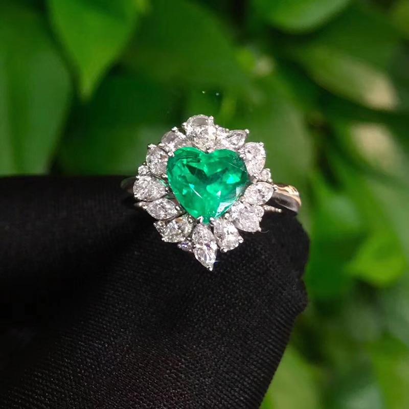 Feine Schmuck Echt 18K Gelb Gold 1.41ct Herz Kolumbien Smaragd Ring Natürliche Diamant für Männer und Frauen Party