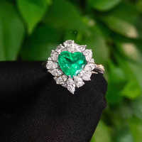 Joyería Fina Real 18K oro amarillo 1.41ct corazón Esmeralda colombiana anillo diamante Natural para hombres y mujeres fiesta