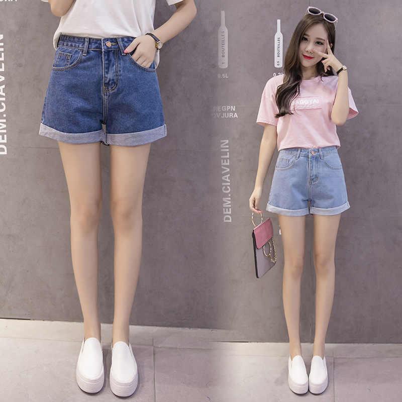 Bộ Short Thun 80% Cotton Phụ Nữ Mùa Hè Quần Short Jeans 2020 Mới Cao Cấp Denim Nữ Mùa Hè Quần Thời Trang Thiết Kế Ống Rộng S đến XL