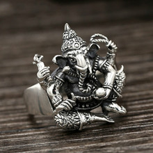 925 sterling silver Indian elephant gods ring Gift Women fine jewelry Men Vintage Ring hongclub 2017 new s990 sterling silver ring men jewelry magpie flower wedding brand ring women gift fine jewelry wholesale r18