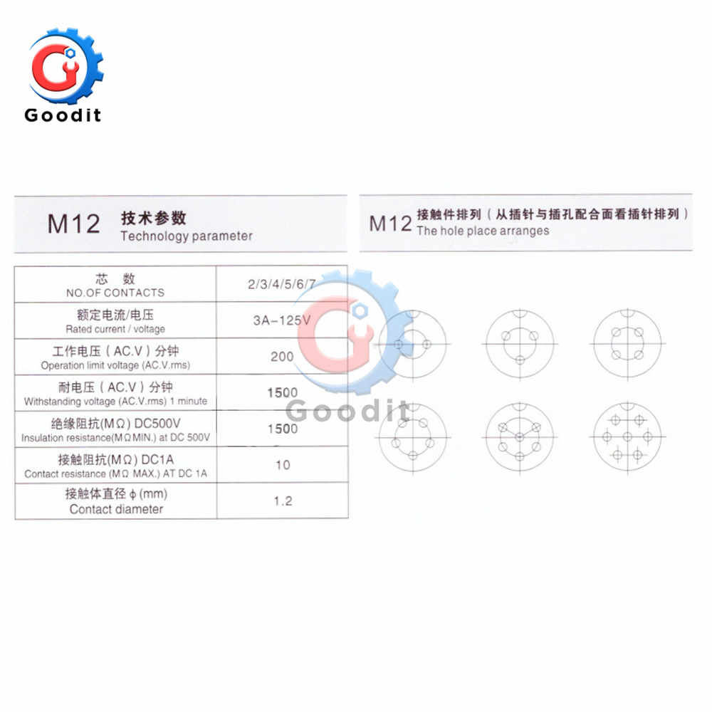 1 juego GX12 2/3/4/5/6/7 Pin macho y hembra de 12mm, Panel conector Circular de cable de L88-93, conector Circular con tapa de plástico