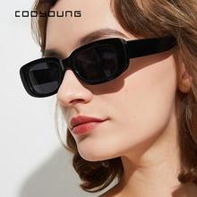 COOYOUNG małe prostokątne okulary przeciwsłoneczne damskie w stylu Vintage marka projektant kwadratowe okulary przeciwsłoneczne odcienie damskie UV400 tanie tanio WOMEN Rectangle Dla dorosłych Z poliwęglanu Gradient 40MM CN18059 66MM