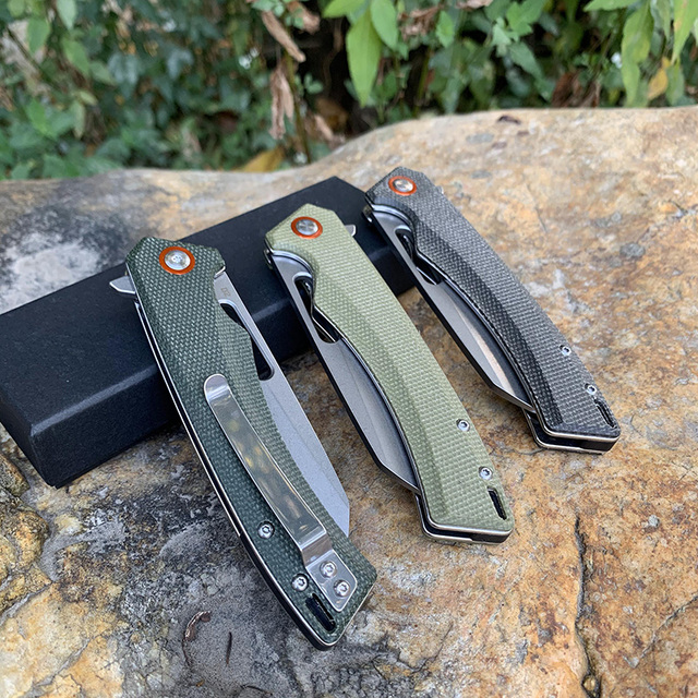 New TUNAFIRE D2  Tactical  folding knife  High-end linen handle  outdoor hiking  camping EDC tool pocket  knife 6
