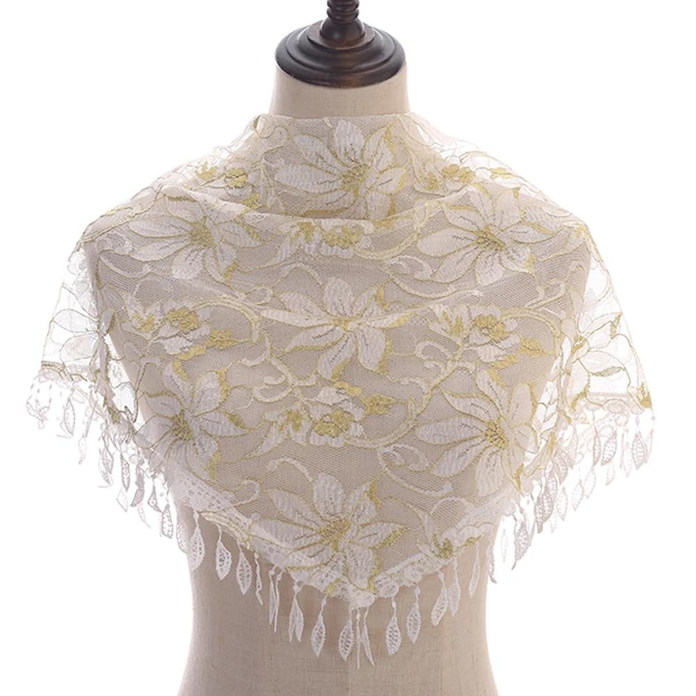 Tassel Scarf Plain Floral Lace Scarf Polyester Women Scarves Wraps Muslim Hijab