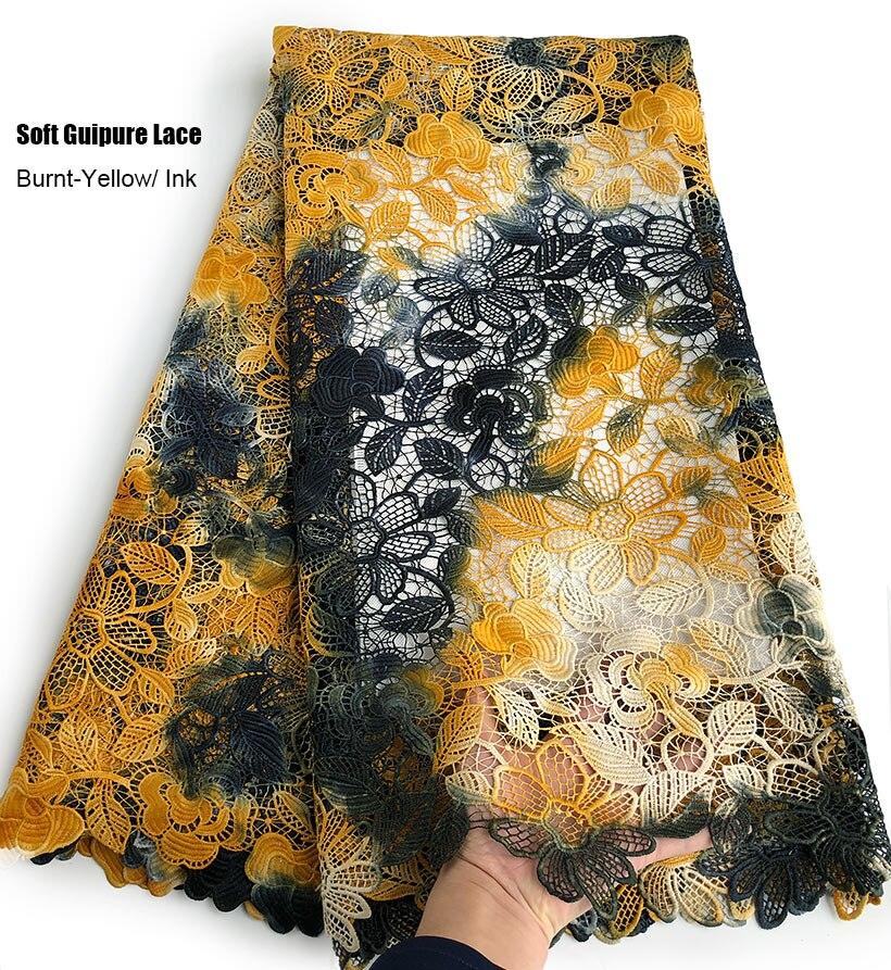 5 yards haute qualité Guipure dentelle douce broderie africaine cordon dentelle tissu élégant nigérian suisse vêtement vêtements robe de soirée