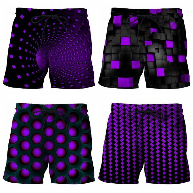 Summer Men Beach Shorts 2019 Purple Whirlpoool 3D Print Swimming Trunks Funny Men's Bermuda Board Shorts Plus Size 6XL Quick Dry