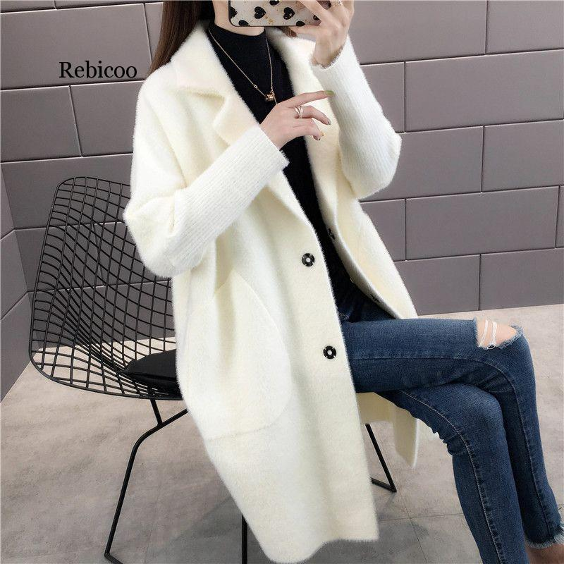 Spring Autumn Women Faux Mink Cashmere Cardigan Female Elegant Solid Sweater Korean Lady Warm Long Knitted Sweaters