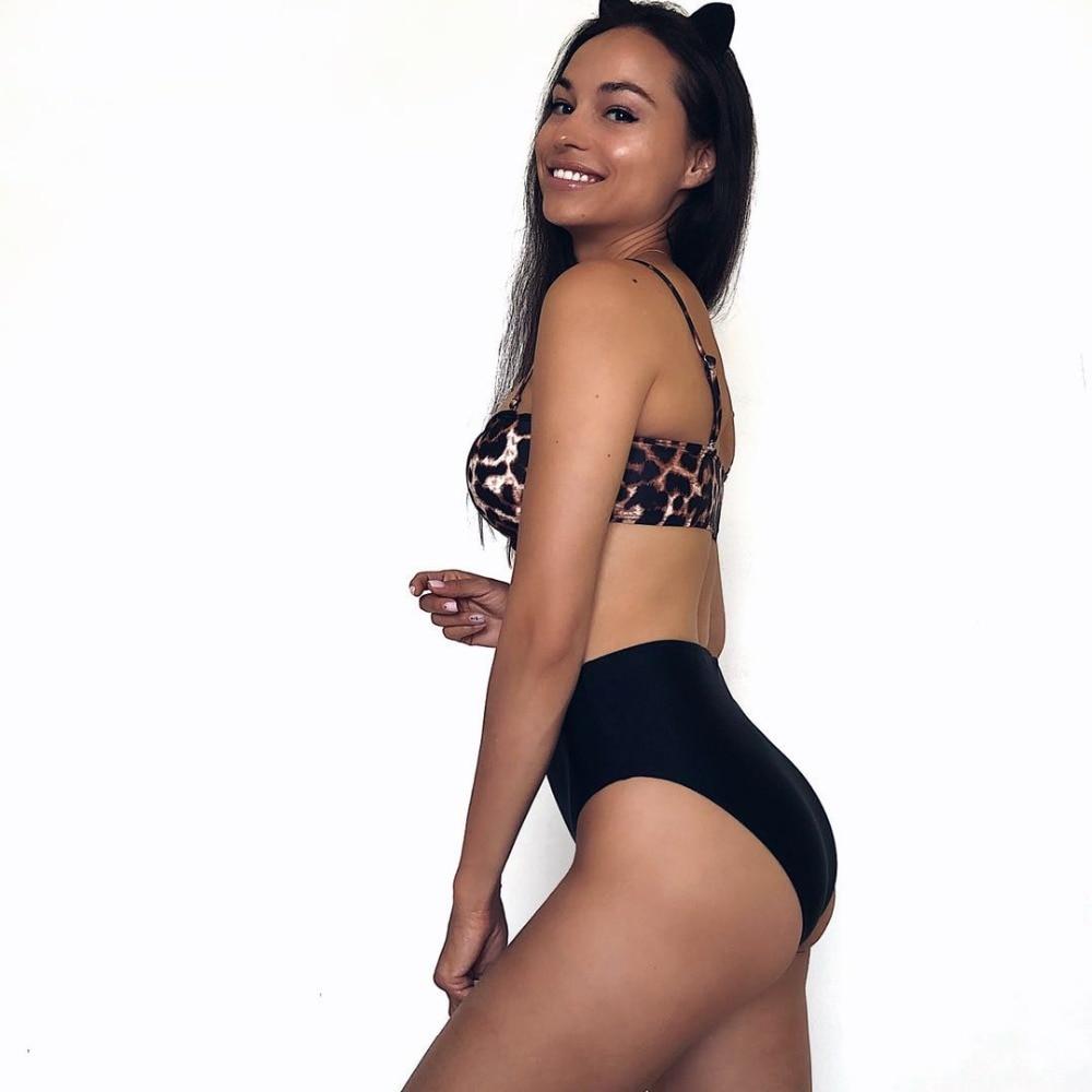 Sexy Leopard Bikini Swimwear Women 2020 New High Waist Bikini Sets Tube Top Swimsuit Beach Wear Swimming For Suits Female Summer 2