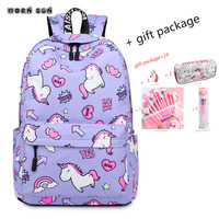 School Bag Cartoon Heart shaped Unicorn Waterproof Backpack For Teenager Girls Pink Gel Pen Pencil Case Gift sac a dos femme