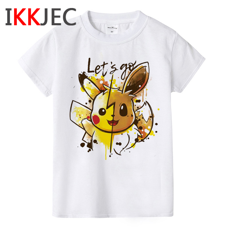 Pokemon Funny Japanese Anime T Shirt Boys Girls Kawaii Pikachu Graphic T-shirt Kids Cute Cartoon Tshirt Children Fashion Top Tee