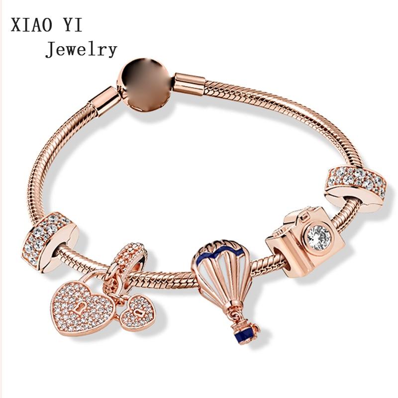 Xiaoyi100 S925 For Love Departure Hot Air Balloon Travel Bag Telescope Charm Rose Gold Bracelet Woman Aliexpress