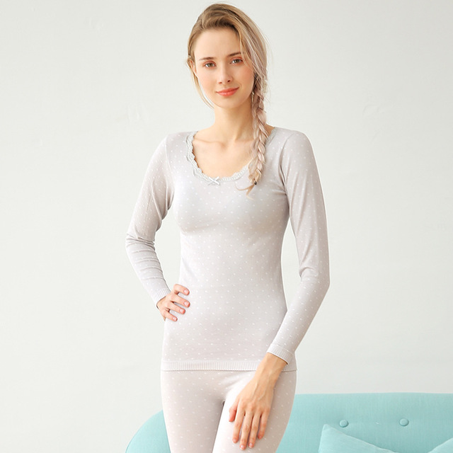 New Autumn Winter Long Johns Underwear Thermal Long Sleeves Keep Warm O-Neck Women Seamless Thermo Set 2 Pieces Shirt + Pant
