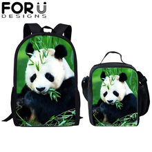 FORUDESIGNS 2Pcs Animal School Bags Set for Kids Boys Tiger Bear Panda Backpacks Bagpack Children Bookbag Satchel Daypack