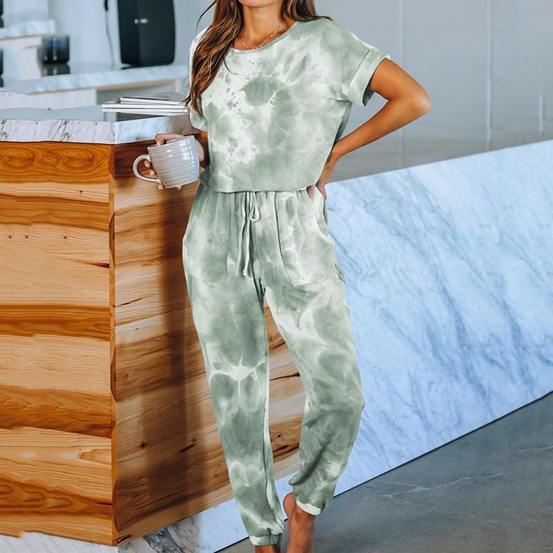 Pocket Jumpsuit Women Short Sleeve Onesies For Adults Lounge Wear Nightgown Pajamas 2020 New Spring Summer Home Suit Sleepwear
