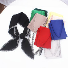 2019 autumn new fashion womens collar scarves solid color embroidery flower sides beautiful neckerchief hair scarf
