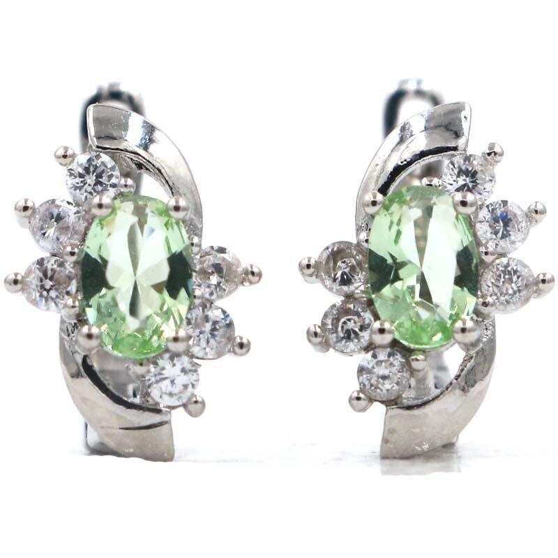 Fantastic Green Tsavorite Garnet White CZ Gift For Girls Silver Earrings 14x9mm in Earrings from Jewelry Accessories