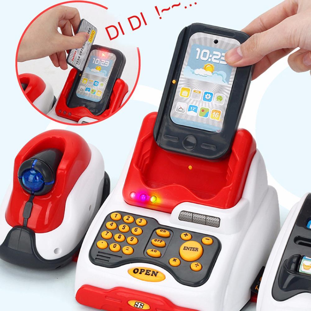24Pcs/Set LED Music Shop Cash Register Scanner Food Model Pretend Play Kids Toy