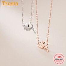 Choker Necklace Heart-Lock Fine-Jewelry 925-Sterling-Silver Wedding Trustdavis Women
