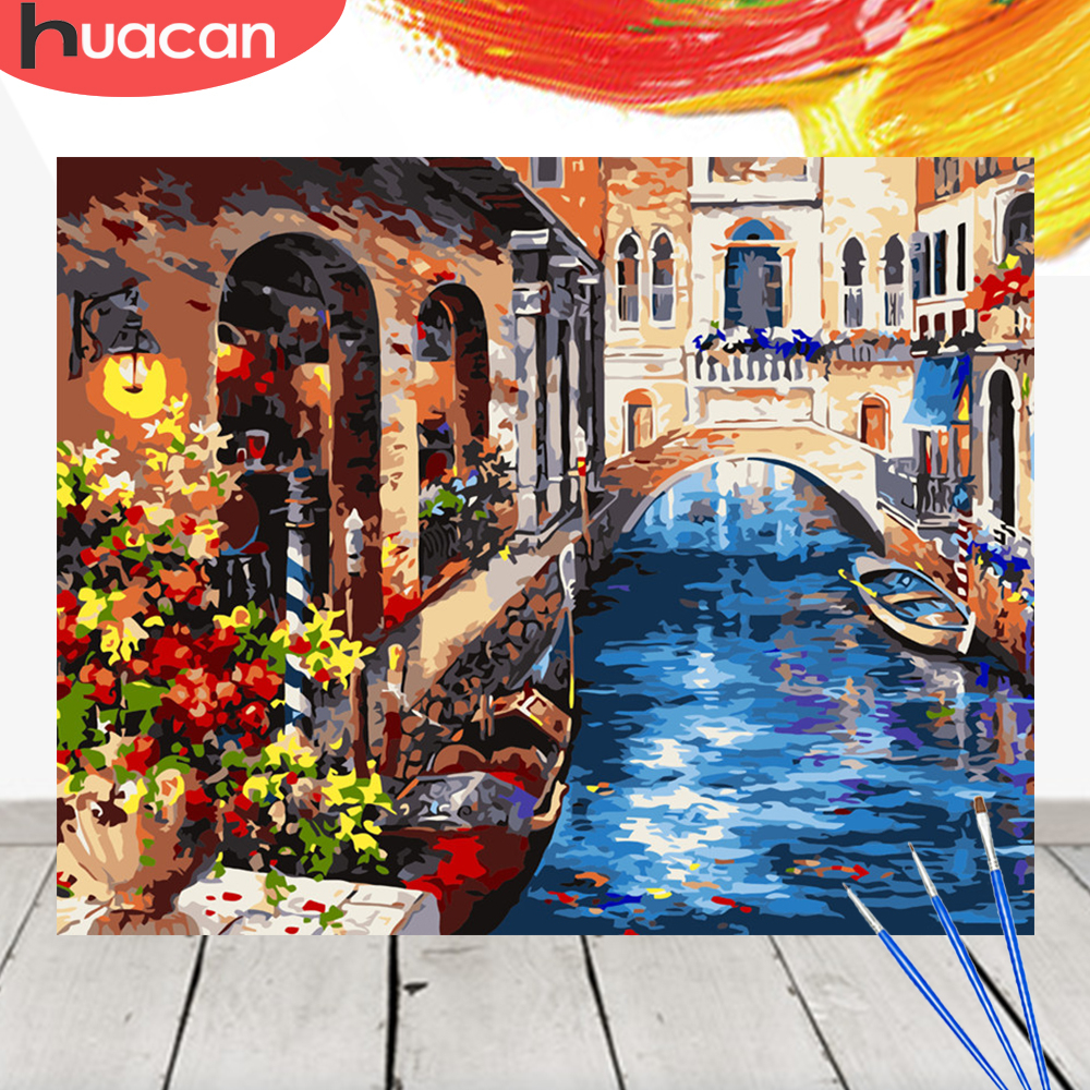 HUACAN Coloring By Numbers Venice Scenery Acrylic Drawing Canvas Picture Wall Art DIY Oil Painting Home Decor Gift