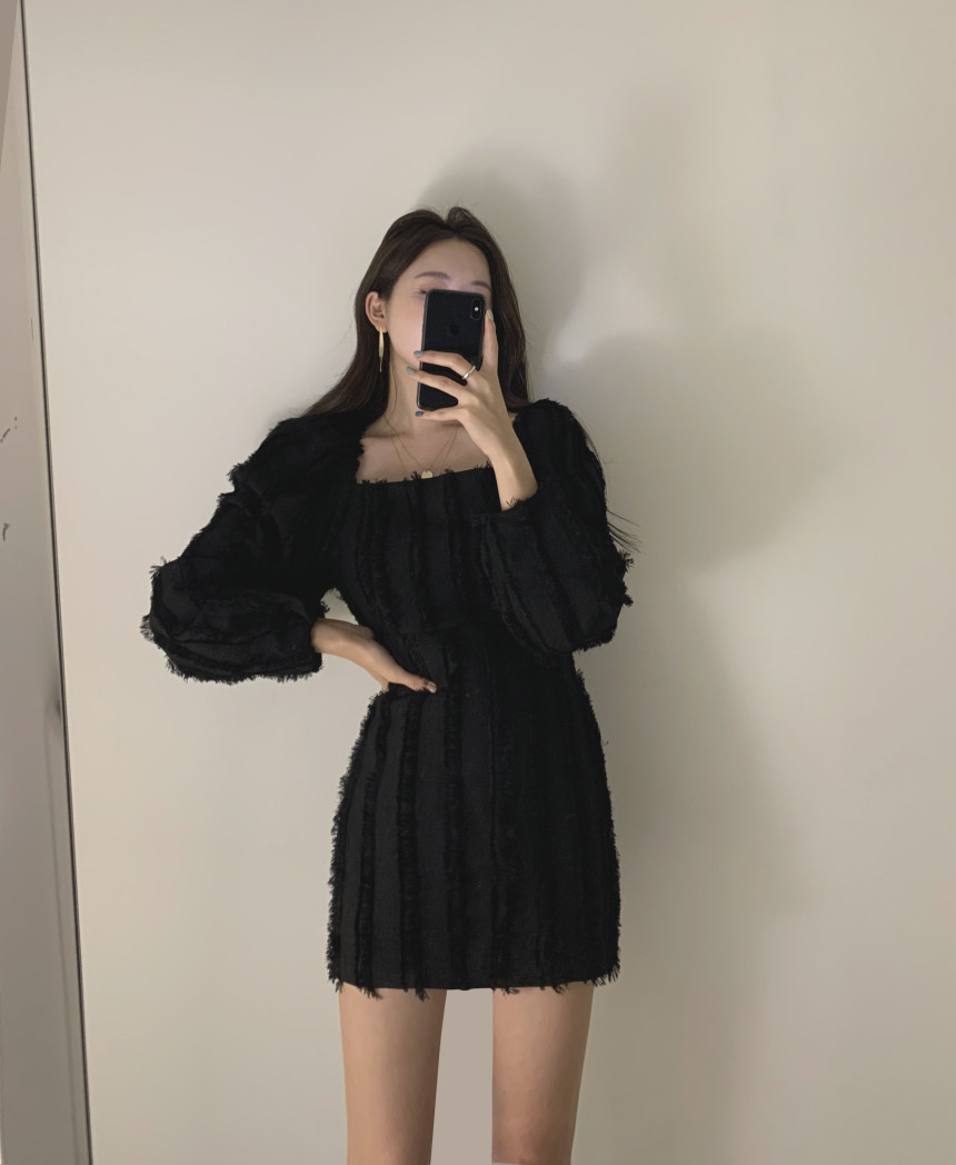 H76cad1de64a440aea19a84ed1ae32388o - Autumn Square Collar Puff Sleeves Tassel Solid Mini Dress
