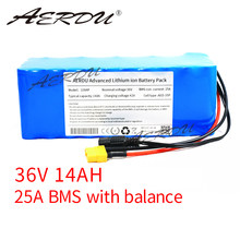 AERDU 36V 10S4P 14Ah 42V 18650 high-capacity power lithium battery pack for ebike electric car bicycle scooter belt 25A BMS