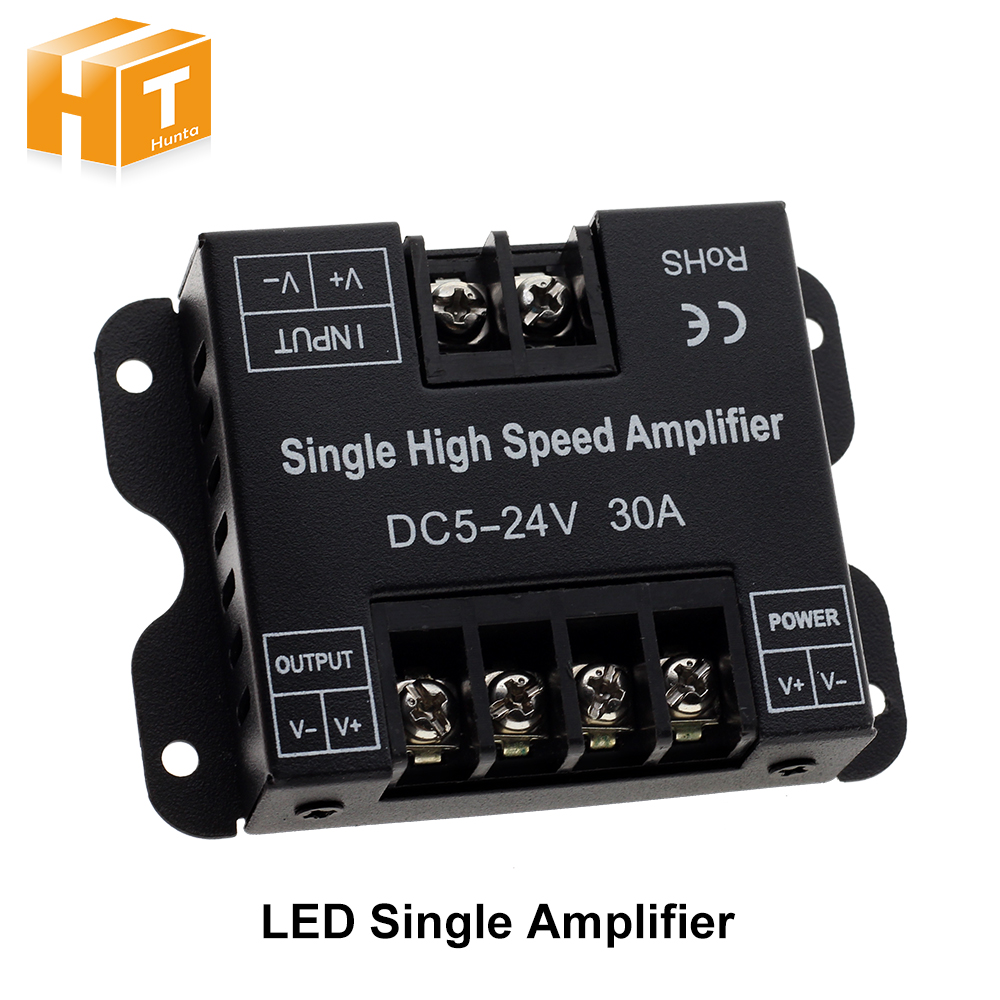 30A LED Strip Amplifier DC5-24V Single High Speed Amplifier For Single Colour LED Strip Power Repeater Console Controller.