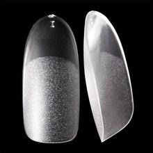 Gel UV Falso nail tips Opaco Ovale allinterno e di superficie sottile unghia consigli Acrilico trasparente Frech stile