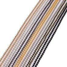 5 м/лот, 1,2, 1,5, 2 мм, металлические цепочки из шариков, золотые/черные/серебряные цепочки для Diy ожерелья, браслеты, ювелирные изделия, поставщик